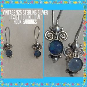 Vintage STER Silver Round Opal Hook Earrings